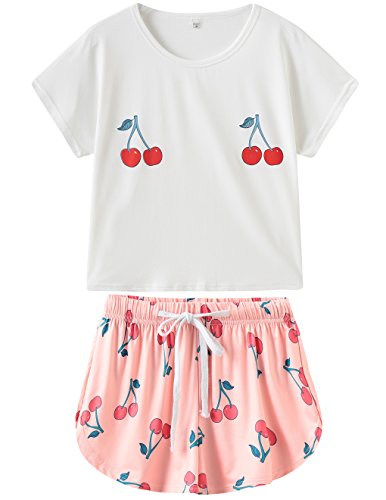 (VENTELAN Pajamas Women's Short Sleeve Sleepwear Cherry Print Pj Set Soft 2 Piece)
