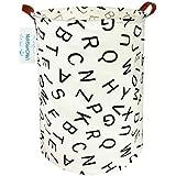 Large Storage Bin ,Ramie Cotton/ Canvas Fabric Folding Storage Basket With Handles- Toy Box/ Toy Storage/ Toy Organizer for Boys and Girls - Laundry Basket/ Nursery Hamper (Alphabet)