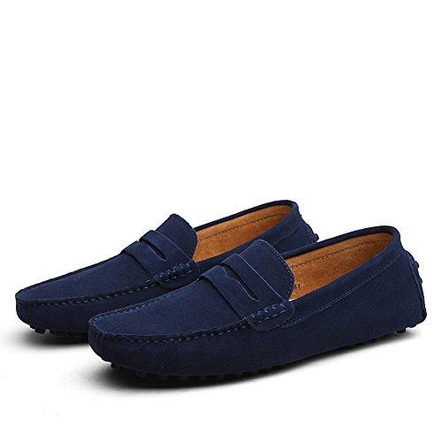 Shenn Hombres Minimalismo Casual Zapatos de Conducción Gamuza Mocasines de Cuero 2088 Azul Marino