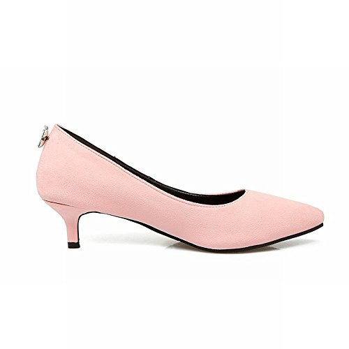 Charm Foot Womens Elegante Scarpe A Punta Tacco Basso Scarpe Rosa