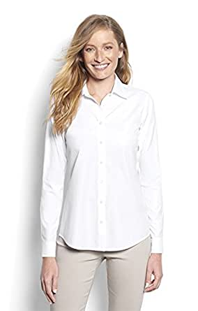 Orvis women 39 s wrinkle free cotton pinpoint oxford shirt for Wrinkle free dress shirts amazon