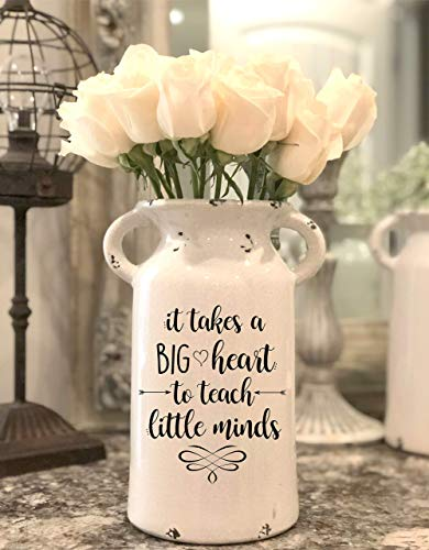 (Teacher Appreciation Gift - Farmhouse Milk Can - Personalized Ceramic Milk Can - Personalized Milk Can - Personalized Flower Vase - Gifts)