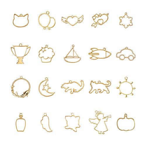 (PH PandaHall 40PCS 20 Styles Golden Open Bezel Pendant Open Back Bezel Charms Blanks Frame Pendant Hollow Charm for Resin Crafts Jewelry Making)