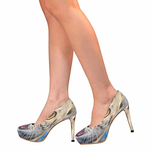 Interestprint Mujeres Classic Fashion High Heel Platform Pumps Gato Gracioso Con Fondo Borroso