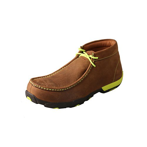 Men's Driving Moccasins - Distressed Saddle/Neon Yellow