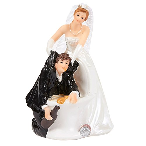 Wedding Cake Topper - Fun Wedding Couple Figures for Decorations and Gift (Bride and Puking Groom Figurines Holding Beer)