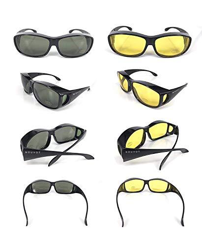 giorno prezzo notte Lotto guida il pezzi Protezione Occhiali Nero per solare 1 solare e 2 da Protezione Nero Uv400 sole YqtYxPX