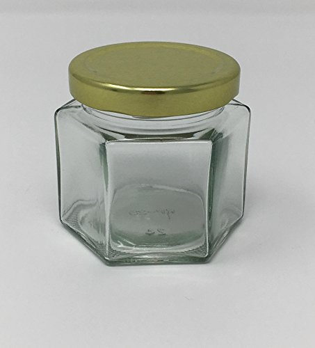 Medium 4 Ounce Jar (4 oz Hexagon Glass Jar with Gold Metal Lid by Richards Packaging 12 pack)