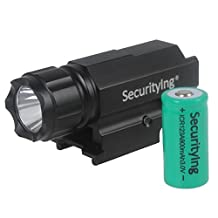 SecurityIng 300LM Gun Flashlight with Quick Release Weaver Mount for Compact Pistols Airsoft + 800mAh ICR 123A Battery