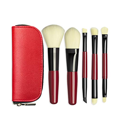 BLD Makeup Brushes Set 5pcs, Powder Brush Foundation Brush Eyeshadow Brushes Super Soft Synthetic Hair, with PU Bag Good for Travel