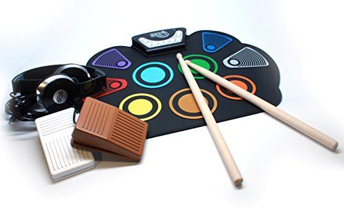 Player Set Instrument (MukikiM Rock and Roll It Rainbow Drum. Flexible Roll-Up Color Coded Electric Drum Kit, Black)
