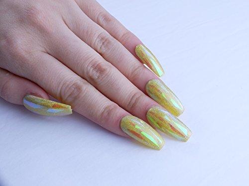 Yellow Holo Custom Press on Nails by Unicornails