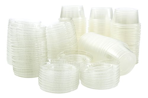 Disposable 2 oz Jello Shot Plastic Portion Cups with Lids, Clear Condiment Cups, Sampling Cup Pack of (Neon Solo Cups)