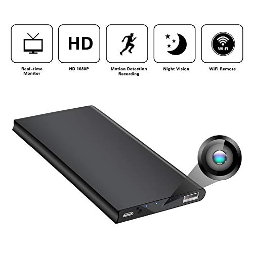 Hidden Spy Camera WiFi,Power Bank Wireless Spy Camera HD 1080P Monitor Security Camera for Home with Night Vision Motion Detection Covert Nanny Cam Battery Powered