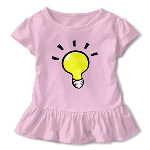 Lookjufjiii80 Kids Little Girl Cute Light Beyond The Bulb Beer Short Sleeve Dress Ruffle Basic Tee Pink -