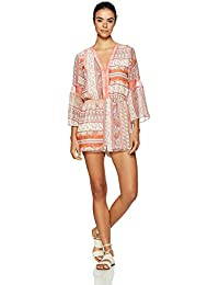 Women's Printed Lace Insert Romper