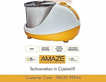 Vijayalakshmi Amaze 2-Litre Table Top Wet Grinder - Yellow