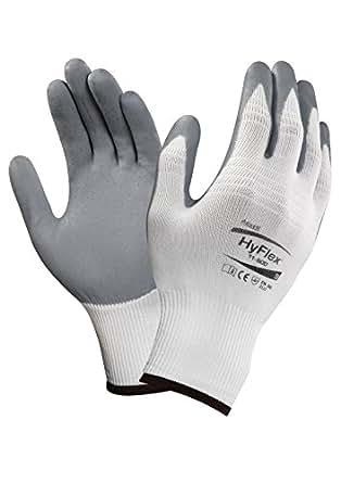 Ansell HyFlex 11-800 Nylon Glove, Gray Foam Nitrile Coating, Knit Wrist Cuff, X-Small, Size 6 (Pack of 12)