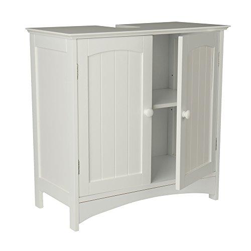 Waschtischunterschrank Holz MDF weiß 60 x 30 x 60 cm | Aussparung ...