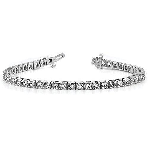 Or blanc 14carats-Bracelet de tennis de diamant-17,8cm-Fermoir
