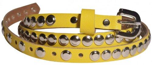 FRONHOFER skinney rivet belt genuine leather belt 17027, Size:waist size 31.5 inch M EU 80 cm;Color:Yellow