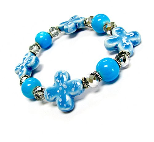 Linpeng Women Porcelain Cross Pearl & Crystal Beads Stretch Bracelet, Light Blue ()