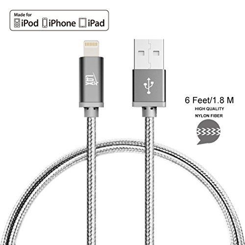 LAX Gadgets Apple MFi Lightning Cable, Gray, 6 Feet by LAX Gadgets
