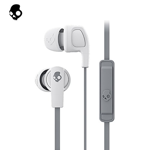 Skullcandy Smokin' Buds 2 Noise Isolating Earbuds with in-Line Microphone and Remote, Moisture Resistant, Oval-Shaped and Angled for Long-Term Comfort, Street/Gray/Dark Gray
