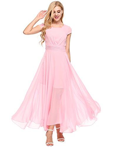 Zeagoo Women's Casual Cap Sleeve Chiffon Wedding Maxi Bridesmaid Long Dress