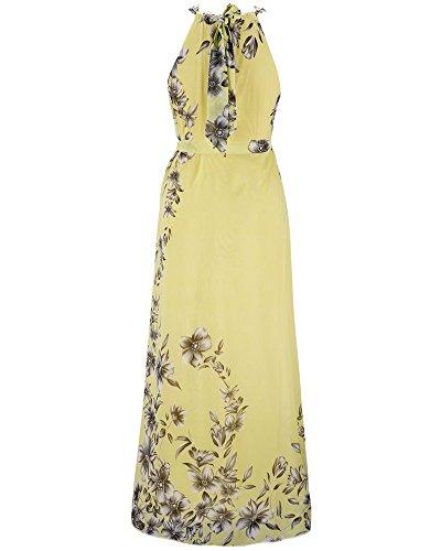 Maxi Vestido de Mujer Cuello Halter Impresión Folral Gasa Sin Mangas Vestido de Fiesta con Cinturón Amarillo