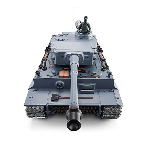 Tletiy Gamepad Control 2.4Ghz 1/16 Scale German Tiger I RC Heavy Tank Toy Tank Model Tracked, Airsoft RC Tank, Wireless Electric Battle Hell Buggy Panzer Camouflage Blue - Electric Airsoft Battle Tank