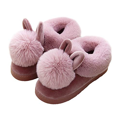 Scarpe Peluche Casa Da 40 Calde Casa Pantofole Comode Kkcf Per Invernali black Coniglio Della La Adorabili Pink wAqOnt1n