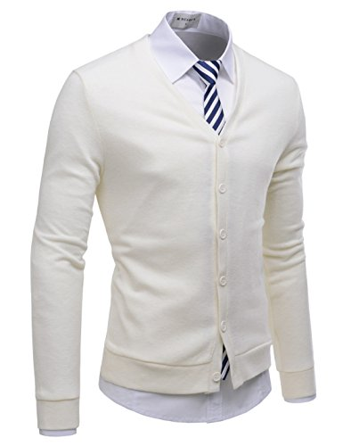 NEARKIN (NKNKCAC1 Mens Knitwear City Casual Slim Cut Long Sleeve Cardigan Sweaters Ivory US M(Tag Size ()