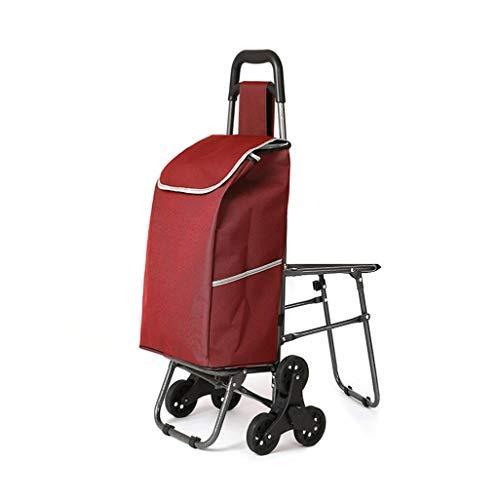 ショッピングカートトロリー椅子付き階段ショッピングカート昔ながらのショッピングカート小カートトロリートロリートロリー折りたたみスツール(カラー:C) B07SDPRX8G C