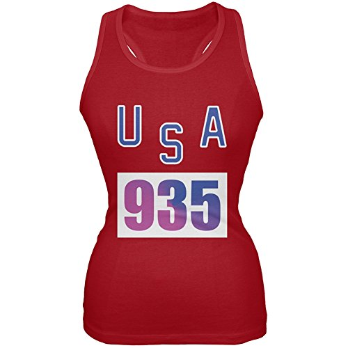 Bruce Jenner Costume (Team Bruce Jenner USA 935 Olympic Costume Red Juniors Soft Tank Top - Large)
