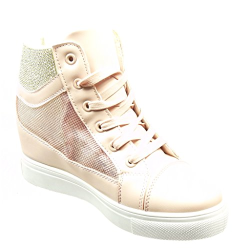 Strass Scarpe Tacco Sneaker Rosa 5 Fishnet Donna Zeppa Moda Cm Angkorly 6 F0gXAdqBB