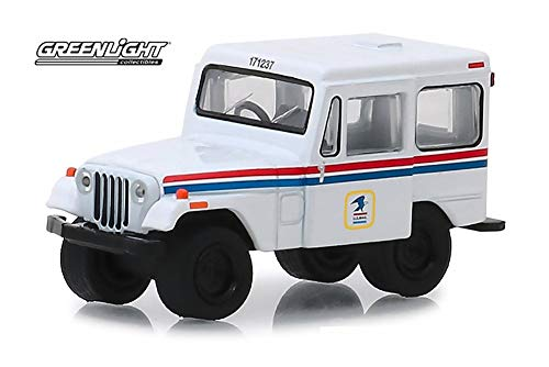 1971 Jeep DJ-5 United States Postal Service, White with Red and Blue - Greenlight 29997/48 - 1/64 Scale Diecast Model Toy Car