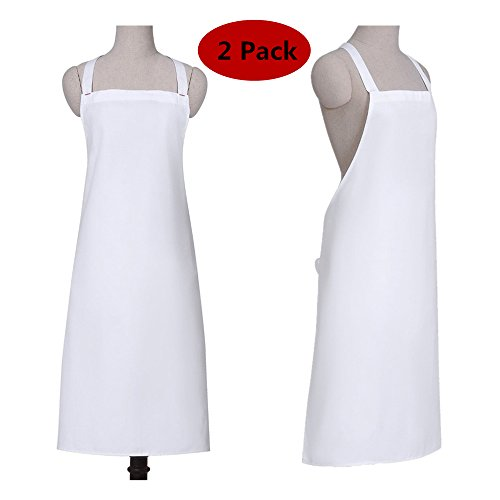 SOTTAE Kitchen Cooking Women Chef Apron,Adjustable Ties,Machine Washable,Full Length,2 Pack,White