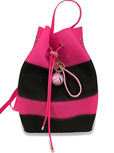 - Large Gummy Backpack Purse Bucket Bag With Free Cute Charm- Hottest gift for girls (Black/Pink)
