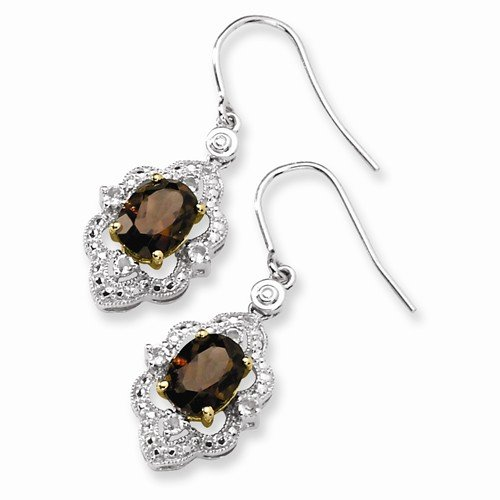 Sterling Silver & Solid 14k Brown Smokey Quartz, White Simulated Topaz & Diamond Earrings (.01 cttw.) (31mm x 6mm) by Sonia Jewels