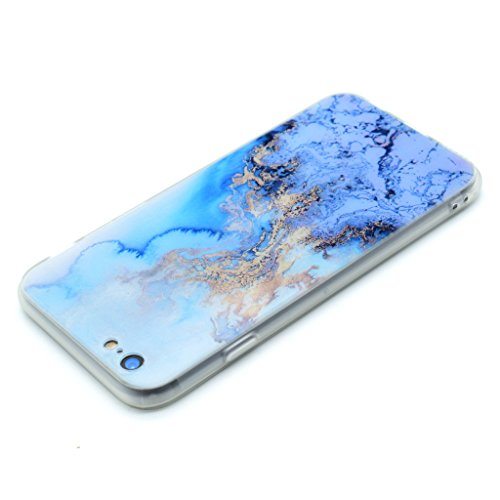 Coque Cover iPhone 6 Plus / 6S Plus, IJIA Ultra-mince Motif Marbre Naturel Bleu Magma Feu PC Dur et Les TPU Doux (2 en 1) Plastique Silicone Hard Bumper Case Cover Shell Coque Housse Etui pour Apple i