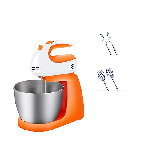 High Power Electric Stand Mixer, Household Electric Mixer with Bowl Electric Hand Mixers for Kitchen 5-Speed Settings with Dough Hook-Orange