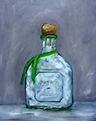 """Patron Tequila Bottle Fine Art Print made from my original oil painting, """"Patron Silver"""". 8x10"""" print matted to 11x14"""", fits into a standard frame. Prints are made with Kodak Professional Endura Premier Lustre paper. Lustre is closely related..."""