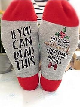Voiks Calcetines Bordados con Letras, 1 Pares Calcetines cálidos de algodón de Invierno Calcetines Deportivos con Letras Creativas SI Puedes Leer Esto para Mujeres Hombres Adultos