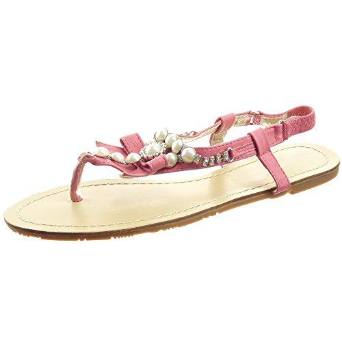 Sopily - damen Mode Schuhe Sandalen Flip-Flops Step Perle Knoten Strass - Blau