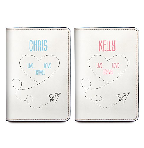 Live Love Travel - Couple Passport Holder Personalized Passport Cover Set of 2 by With Love From Julie