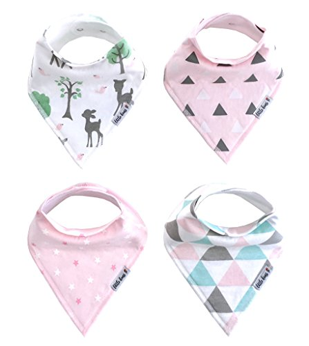 Organic Baby Bandana Drool and Teething Bibs for Girls, 4 Pack - Enchanted Forest Gift Set