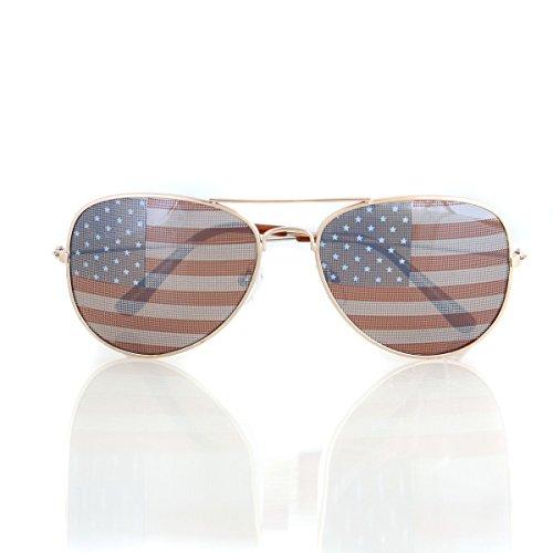 American USA Flag Aviator Sunglasses Patriotic United States Stars Stripes Gold ()