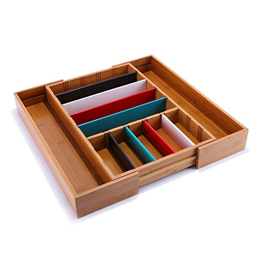 Bamboo Expandable Kitchen Drawer Organizer Utensil Cutlery Flatware Silverware Tray Holder with 8 Removable Dividers Utility Accessories Storage