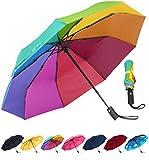 Rain-Mate Compact Travel Umbrella - Windproof, Reinforced Canopy, Ergonomic Handle, Auto Open/Close Multiple Colors (Rainbow)